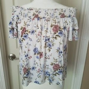 AEO Soft & Sexy Off the Shoulder Floral Top